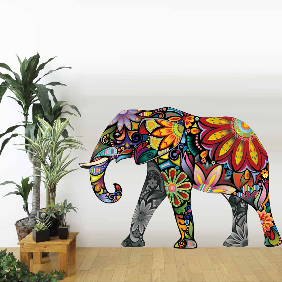 Big Size Elephant Wall Sticker Removable PVC Flower Pattern Elephant ...
