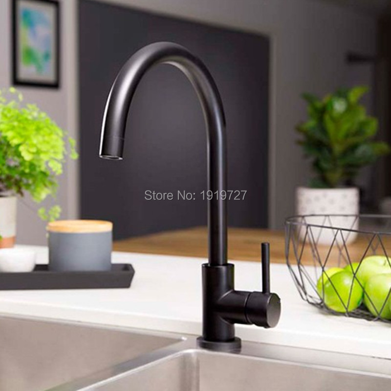 Classic 360 Swivel 100% Solid Brass Single Handle Bar / Prep Mixer Sink Tap  Hot And Cold Kitchen Faucet In Alba Matt Black-in Kitchen Faucets from Home Improvement    3