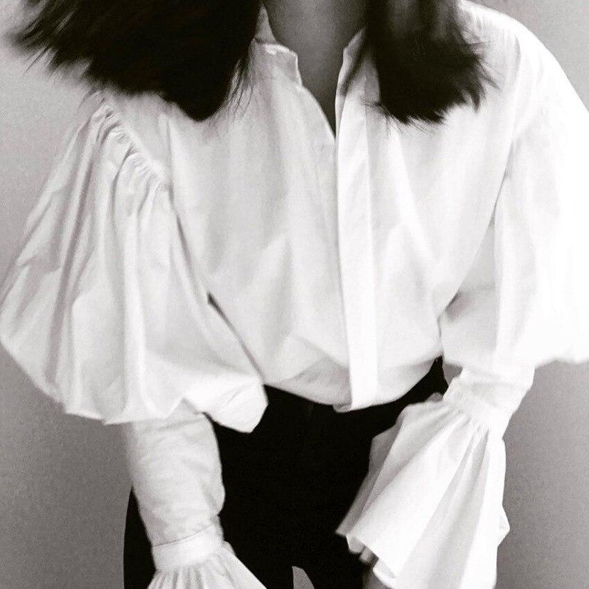 Винтажная белая блузка Женская Офисная Женская Элегантная блузка с рукавом-бабочкой 2018 Новая Осенняя рабочая одежда женские топы и блузки