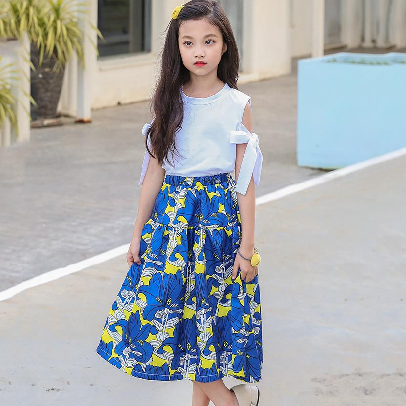 Floral Printed Children Long Skirts For Girls Clothing 2018 Summer Spring Big Kids Casual High Waist Skirts Kids Clothes Costume blue high rise floral print front slit midi skirts