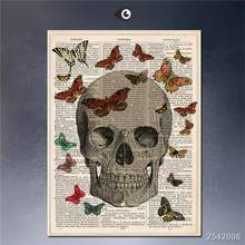 Steampunk Art Print Wall Poster Vintage_dictionary_book_art_print_skull_butterflys_artprints_2 Painting Printed On Canvas gift