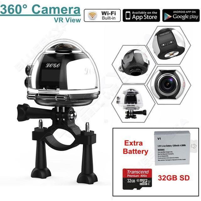 Frete Grátis! 4 K 360 Camera Wifi Mini Câmera Panorâmica 2448*2448 Ultra HD Esporte Câmera VR w/Bateria Extra + 32 GB CARTÃO TF