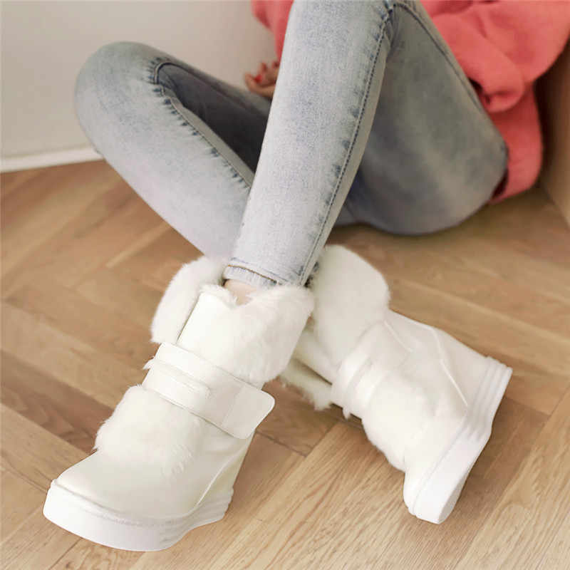 YMECHIC 2018 Faux Fur Tassel Women Winter Boots Hook Loop High Wedge Heels Platform Ladies Snow Boots Shoes Pink White Plus Size