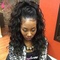 26 ''Бразильский девственные волосы мокрые волнистые парики объемная волна бесклеевого полный человеческих волос парики natural color кружева fornt парик с волосами младенца