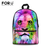 FORUDESIGNS Colorful Hair Lion Printing Girls Shcool Bags 3D Cute Pug Dog Cat Rucksack School Student Bags for Kids Schoolbags