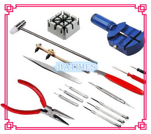 Free Shipping 1 Set of 16pc Deluxe Watch Opener Tool Kit Set Repair Pin Strap Remover Case Holder NEW