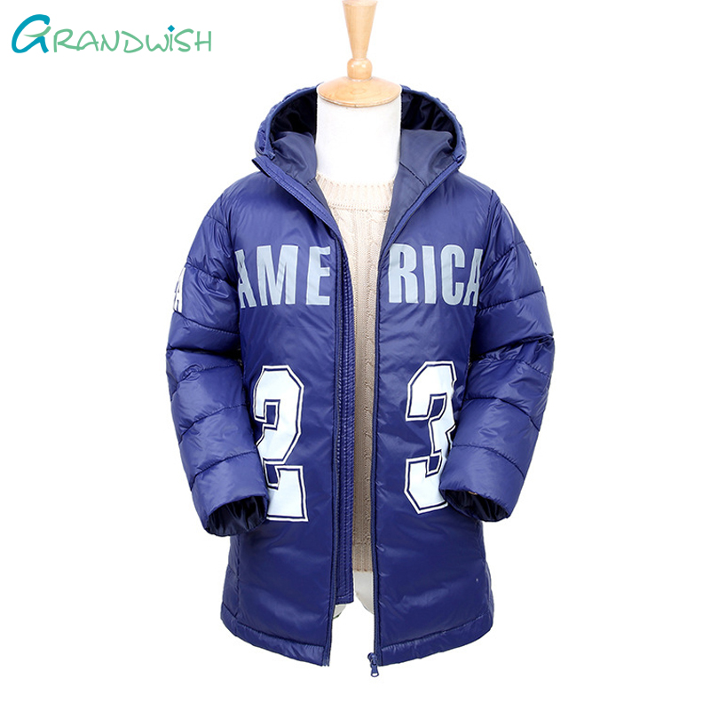 Grandwish Boys Sports Style Hooded Coat Letter Print Warm Parkas Outerwear Teens New Winter Long Jacket for Kids 6T-12T,TC166 2017 girl boys clothes jacket long parkas kids hooded outerwear solid cotton warm long style children winter coats for 3 10y