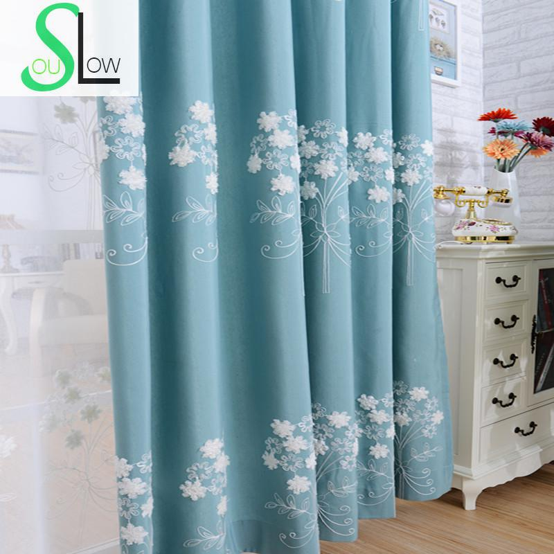 slow soul ivory red blue green garden embroidered cotton fabric curtains bedroom living room. Black Bedroom Furniture Sets. Home Design Ideas