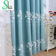 Slow Soul Ivory Red Blue Green Garden Embroidered Cotton Fabric Curtains Bedroom Living Room Shade Curtain For Floral Kitchen slow soul white blue yellow jasmine curtain fabric embroidered floral kitchen curtains for living room tulle bedroom and luxury