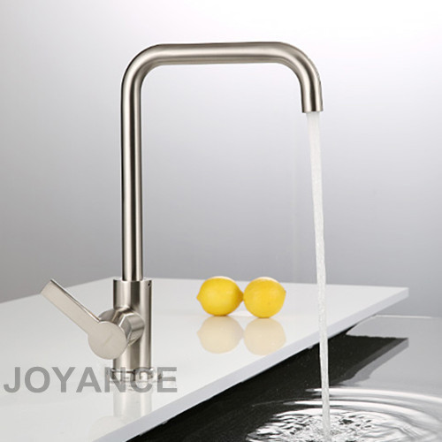 Buy Modern Kitchen Sink Faucet With Plumbing Hoses Brushed Nickel Solid Brass