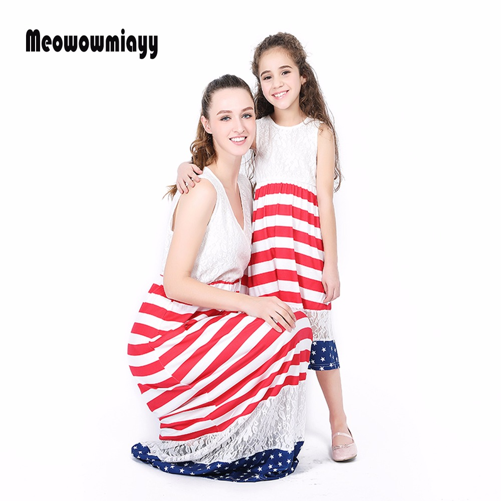 eb022b83aba Mom and daughter dress 2018 spring stitching flag lace sleeveless family  look matching dress mommy and me clothes