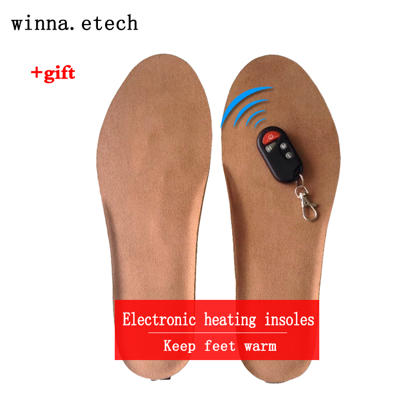New USB Electric Powered Plush Heating Insoles Winter Keep Warm Foot Shoes Insole Brown for hiking ski