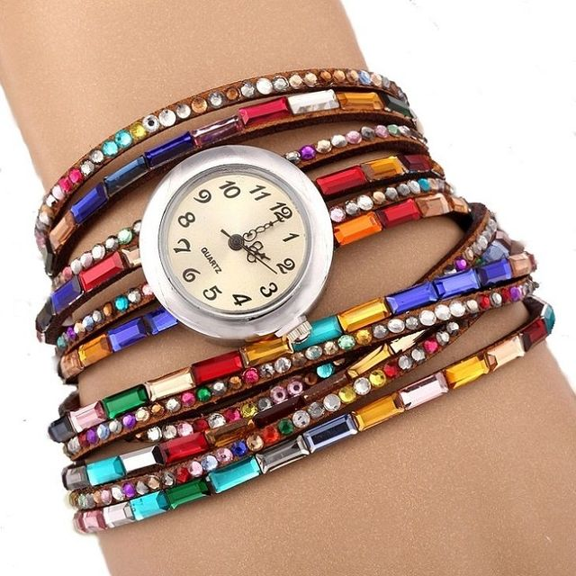NEW Fashion Strip Bracelet Watch women Rainbow Rhinestone PU Strap leather Wrap