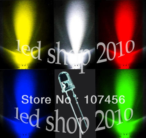 200PCS,5 value UltraBright R,G,B,W,Y,LEDs,3mm +Free Resistors Free Shipping 3mm light lamp