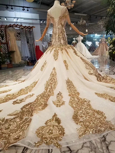Image 2 - LS22005 luxus meerjungfrau hochzeit kleider mit goldenen spitze oansatz quaste kurzen ärmeln open back trompete robe de mariée sirène