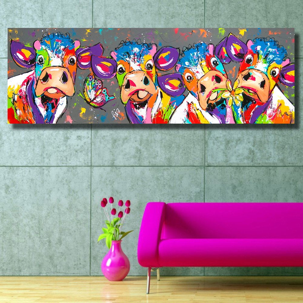 HDARTISAN Colorful Four Cows Animals Graffiti Oil Painting Canvas Prints for Wall Art Picture for Bedroom Living room Home Decor