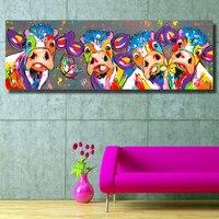 Hdartisan красочные четыре коровы Животные граффити масла Холсты для рисования принтов Для Уолл Книги по искусству изображение для спальни гос...