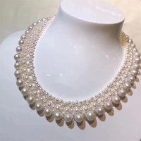 DIY jewelry factory wholesale fashionable 14k gold wrapping mix material natural white pearl beaded necklace for women
