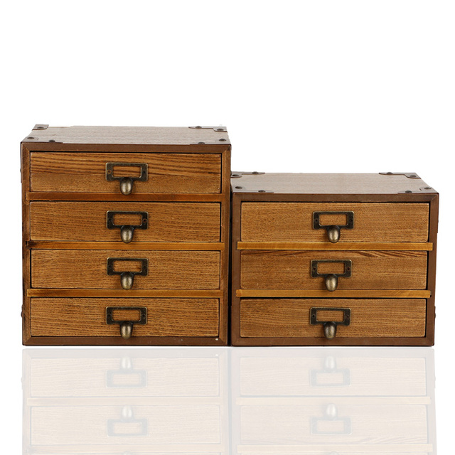 Retro Wooden Multi Layer Desktop Storage Box Drawer Type Household Ornament  Storage Cabinet Combined Storage
