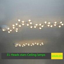 High power led Сливы Потолочные светильники спальня гостиная столовая крыльцо творческие звезды, 31 головы Белый 1630*240 мм