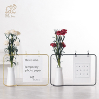 Iron Art Desktop Decoration Notes Clips Card Photo Holder Table Memo Holder Name Message Clips with Flower Vase Office Decor