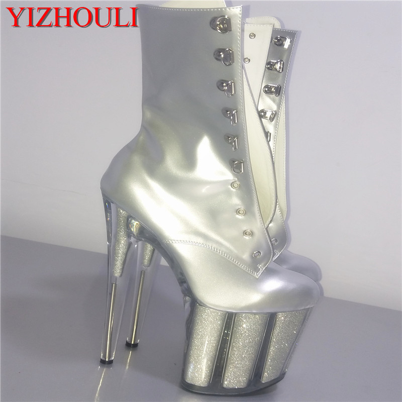 fashion sexy knight female 8 inch high heel platform ankle boots for women autumn winter shoes 20cm silver pole dancing boots