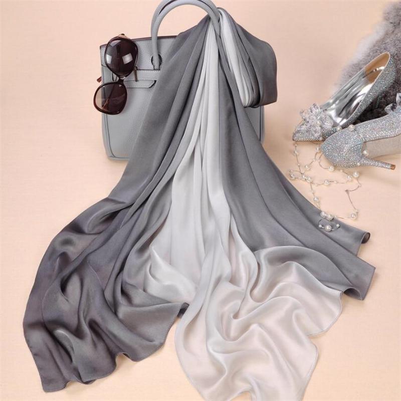 2018 ماركة المرأة الحرير وشاح الأزياء soild الربيع echarpe السلس الصيف التفاف الإناث الفوال والأوشحة الفاخرة الفولار الشاطئ التكتيم