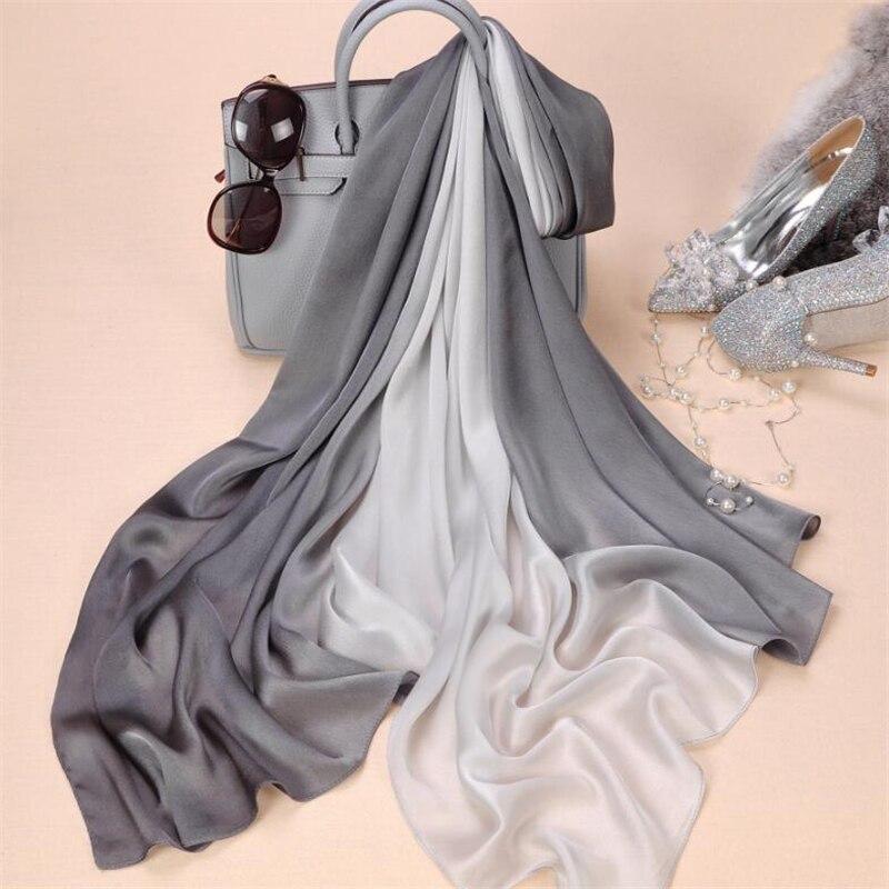 2018 brand women silk scarf fashion soild spring Echarpe Smooth Summer Wrap female Voile Luxury Scarves Foulard Beach cover-ups