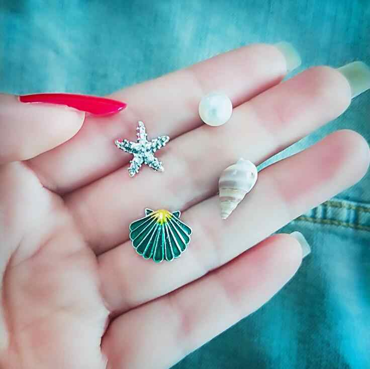 4 PCS/Set Pearl Starfish Real Shell Stud Earrings for Women Colorful Shells Boho Summer Beach Boucle D'oreille Jewelry Brincos