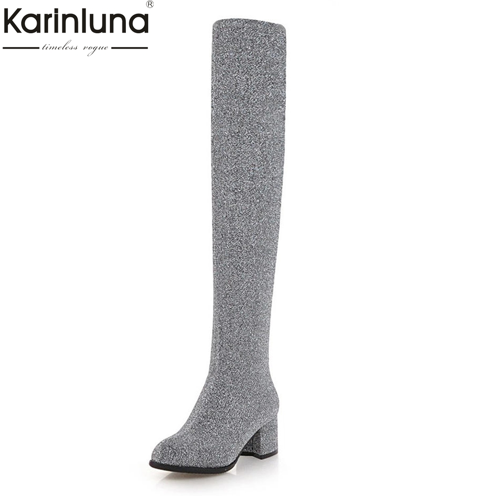 Karinluna Large Size 32-43 2018 Sock Boots Woman Shoes Fashion Over-the-knee Boots Female Chunky High Heels Party Shoes Woman doratasia 2018 large size 34 43 chunky heels women boots shoes slip on over the knee high boots leisure fashion shoes woman