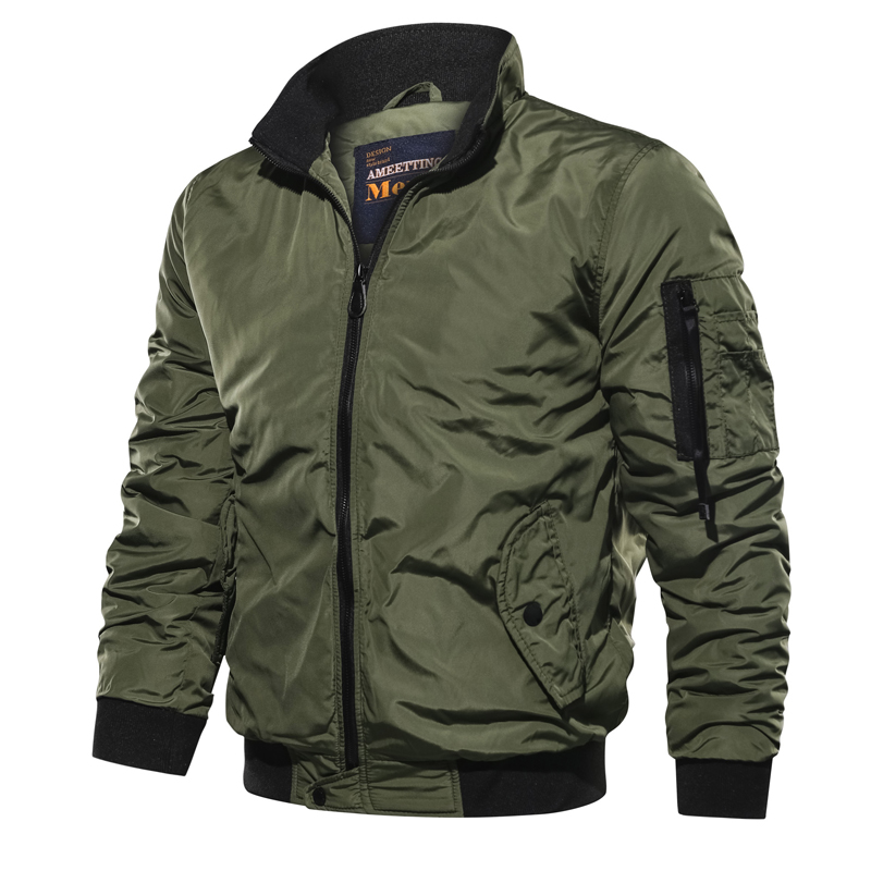 Image 1 - 2019 Spring Autumn Men ' s Military Bomber Jackets Men Casual Solid Zipper Pilot Jacket New Thin Stand Collar Male Coat Slim Fit-in Jackets from Men's Clothing