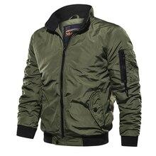 Nova primavera outono dos homens militar bombardeiro jaquetas homens casual sólido zíper piloto jaqueta nova fina gola masculina casaco fino ajuste