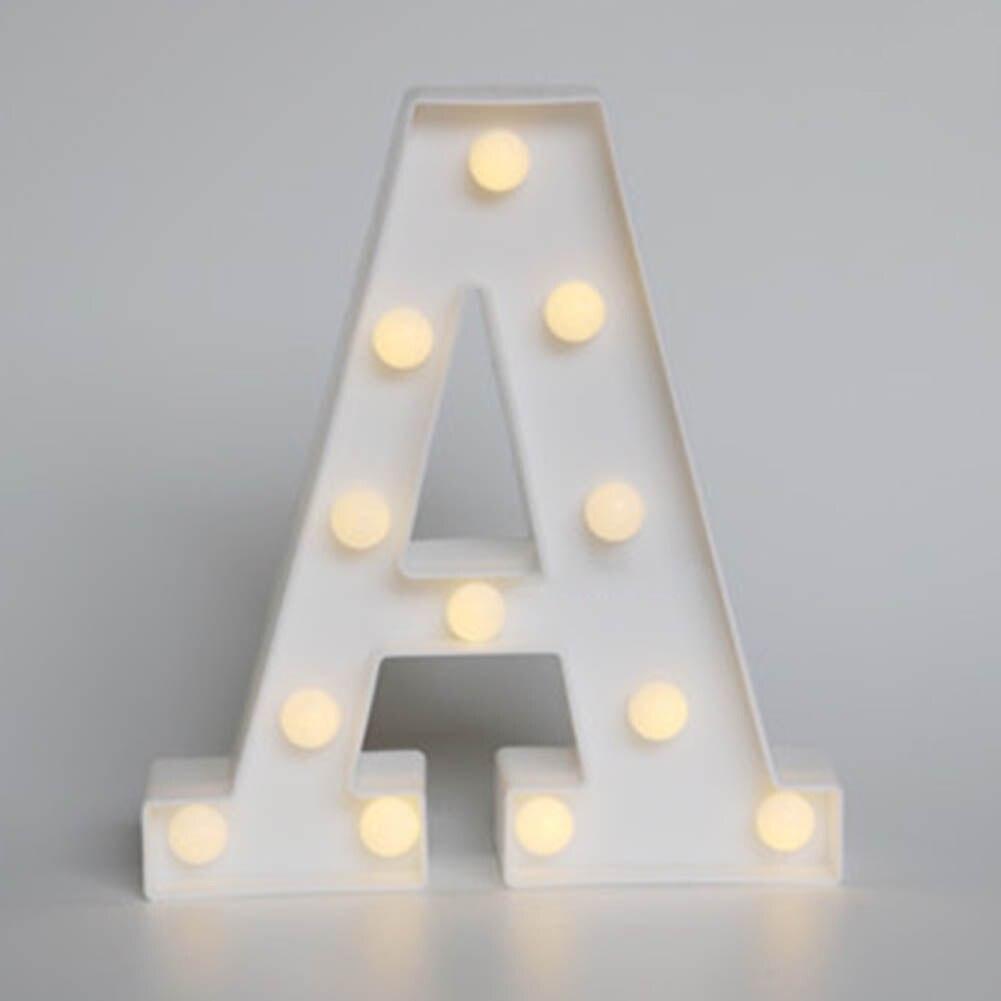 Популярное белое письмо LED знаковое событие Алфавит загорается свет Крытый украшения стены Свадебная вечеринка окна Дисплей свет