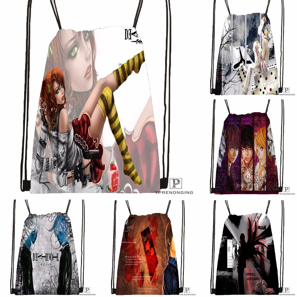Custom Death Note Drawstring Backpack Bag For Man Woman Cute Daypack Kids Satchel (Black Back) 31x40cm#180531-01-08