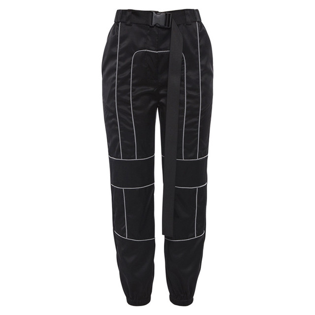 Sportswear Women Gym Running Pants Sport Fitness Workout Leggings Reflective Stitching Casual Overalls Belt Breathable Joggers 5