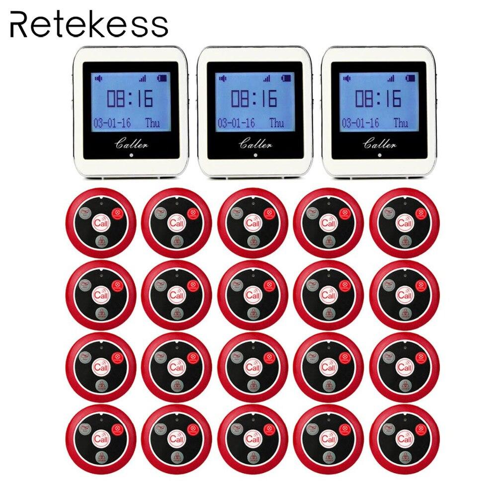 20 chamada Botão T117 Transmissor + Receptor Relógio 3 Restaurante Pager Sistema de Chamada Sem Fio Garçom Restaurante Equipamentos 433MHz