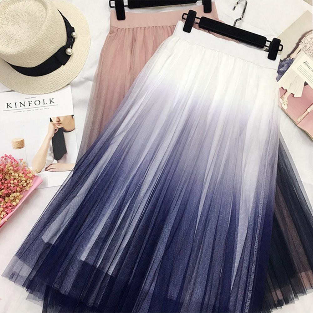 Gogoyouth Long Tulle Skirt Women 2019 Spring Summer Gradient Korean Elegant High Waist A-line Pleated School Midi Skirt Female