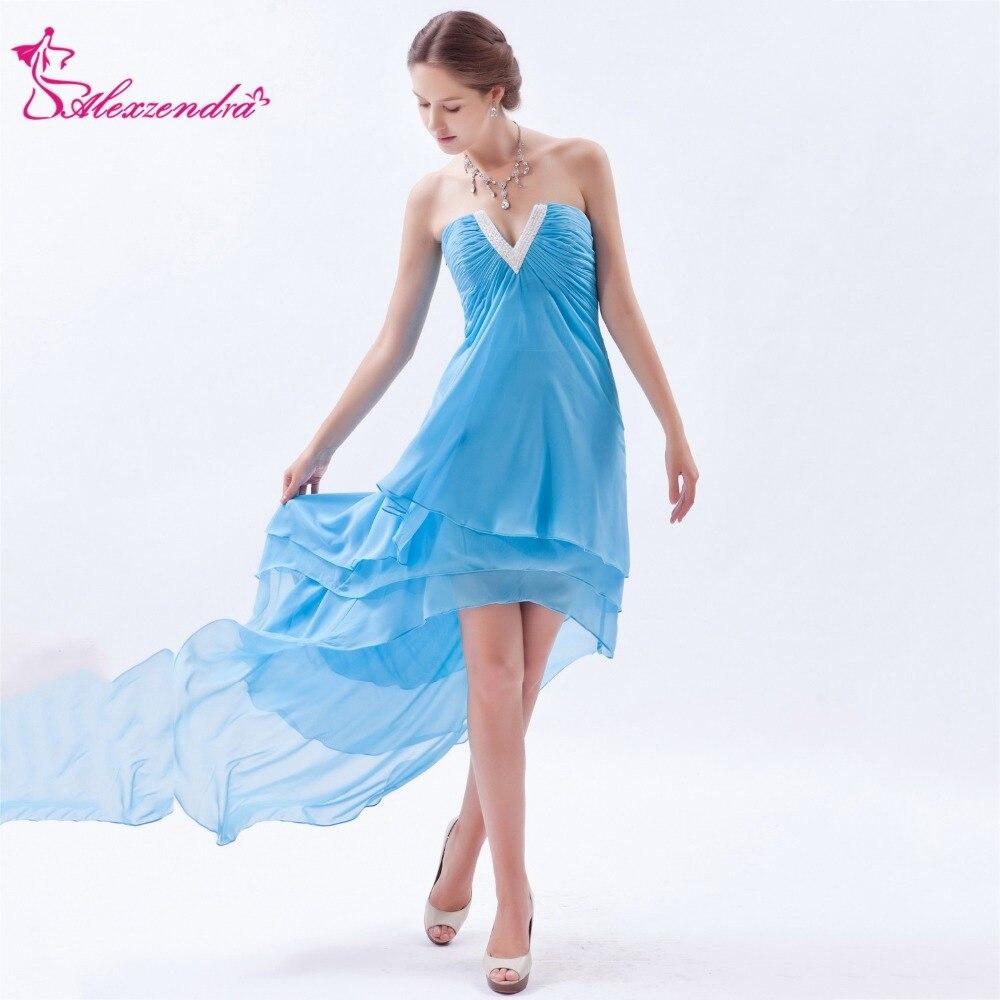 Alexzendra Sky Blue Chiffon High Low   Prom     Dresses   2018 A Line Simple Party   Dress   Plus Size