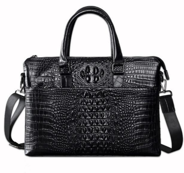 Retro Crocodile Pattern Briefcase Men Laptop Genuine Leather Handbag Shoulder Crossbody Mens Business Travel Bag Bolsa D245