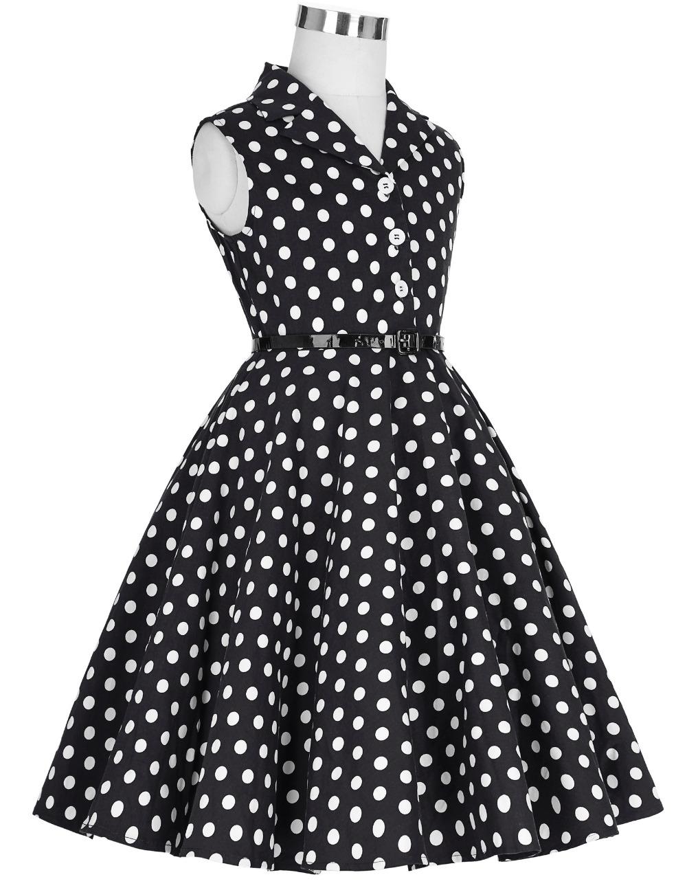Grace Karin Flower Girl Dresses for Weddings 2017 Sleeveless Polka Dots Printed Vintage Pin Up Style Children's Clothing 6