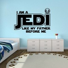 Free shipping diy wallpaper Jedi Like My Father Quote Star Wars Home Decor Vinyl Wall Sticker Decal Luke Skywalker