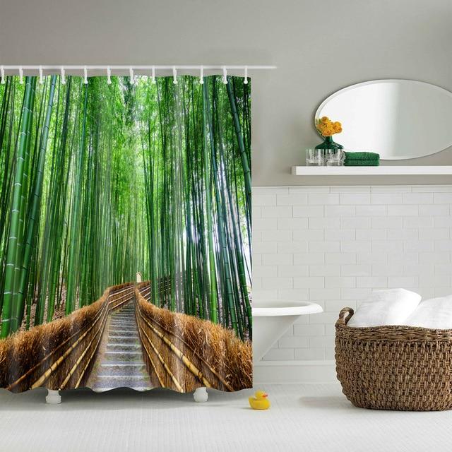 Foresta alberi stampati 3d tende del bagno impermeabile tessuto in poliestere lavabile bagno doccia schermo tenda con ganci accessori