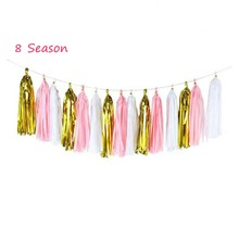 8 Season 15Pcs Rose Gold Tissue Paper Wedding Colorful Tassels Garland Banners Baby Shower Kids Birthday Party Favors