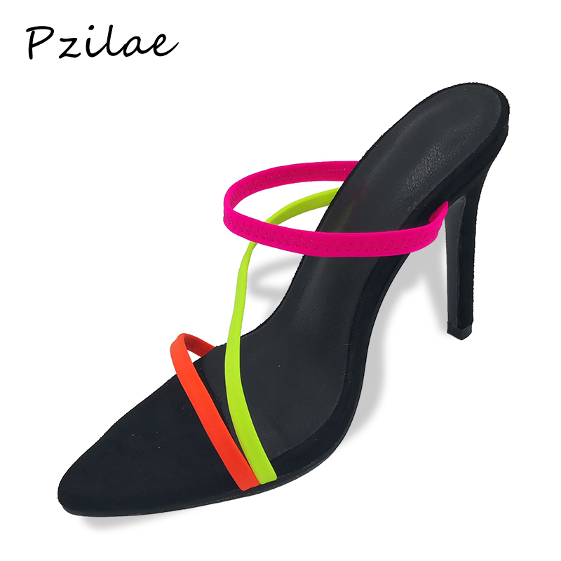 Image 2 - Pzilae 2019 fashion sandals women summer slides black super high heel mule sexy ladies outdoor slippers plus size 12 women shoesSlippers   -