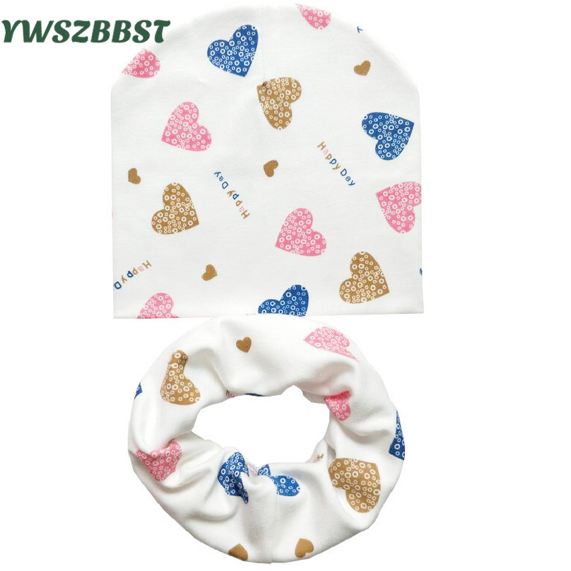 Retail and wholesale New style beautiful stars baby hat cotton scarf infant  hats set child caps scarf baby cap for autumn winter b018c104a6d