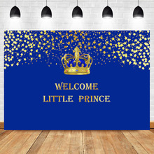 Welcome Little Prince Backdrop Gold Crown Stars Royal Baby Shower Photography Background Newborn Photo Shooting Props