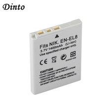 Dinto 1400Mah EN-EL8 ENEL8 En EL8 Oplaadbare Digitale Camera Batterij Voor Nikon Coolpix P1 P2 S1 S2 S3 s5 S6 S7 S7C S8 S9