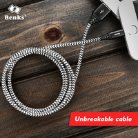 Benks Unbreakable Nylon Aluminium Alloy Usb Lightning Cable 1 2M 1 8M Length USB Data Fast