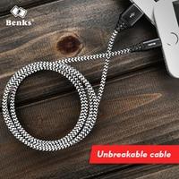 Benks unbreakable  Nylon + Aluminium Alloy Usb lightning Cable 1.2M/1.8M Length USB Data  Fast Charging Charger Cable black