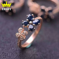 100 Natural Sapphire Rings Genuine Gems Solid 925 Sterling Silver Precious Stone Gold Plated Woman Fine
